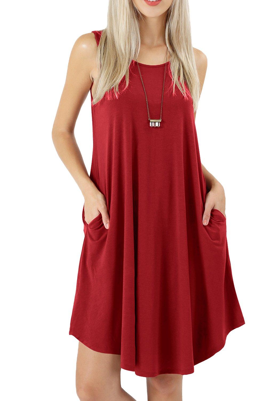 peassa Womens Summer Pockets Sleeveless Loose Flowy Casual Tunic Dress Wine XL