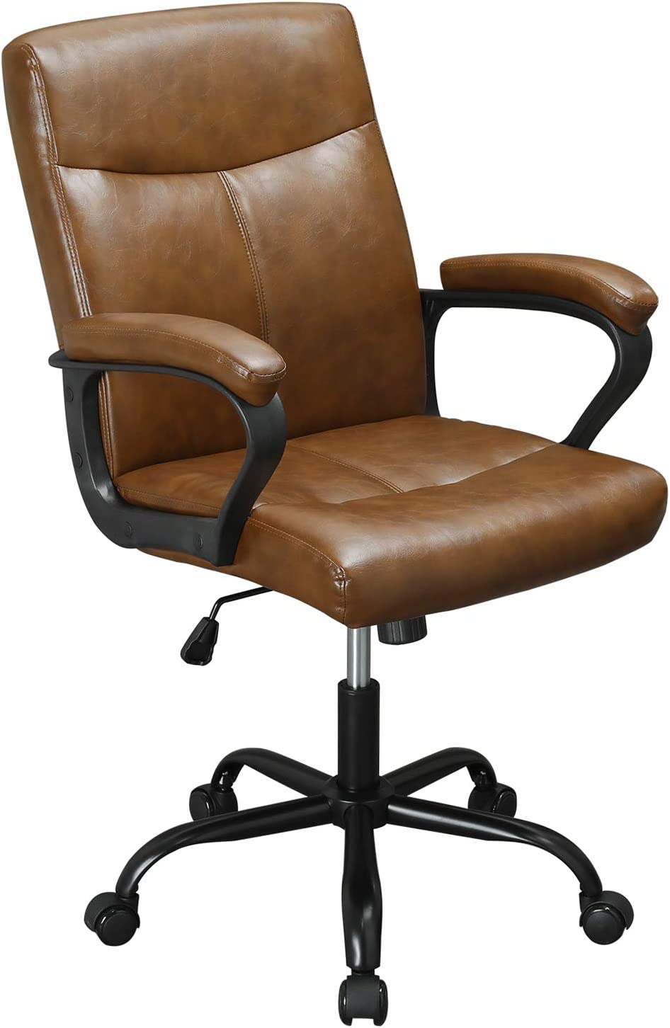 DICTAC Leather Home Office Chair Ergonomic Desk Chair Mid Back Computer Chair Adjustable Executive Cahir Swivel Managerial Chair Brown