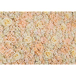 """PROPHOTOCONNECT 48""""X 96"""" Artificial Silk Rose Flower Wall Background Wedding Party Decor White 24"""