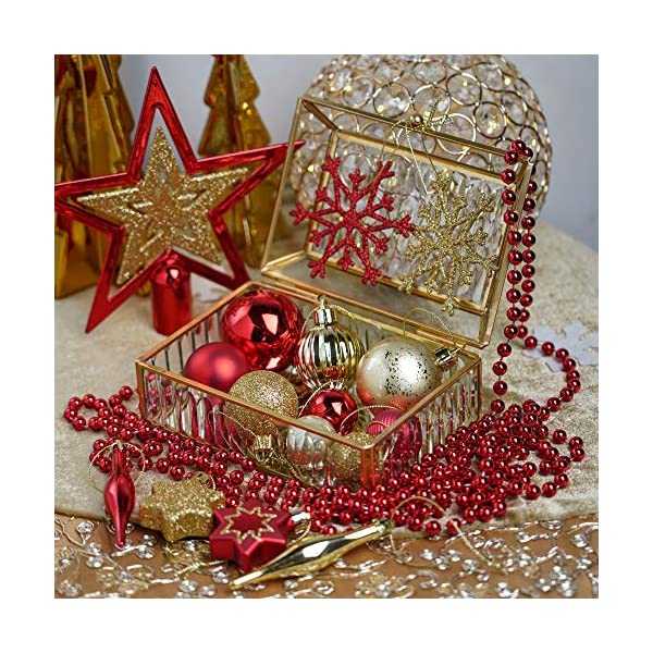 Valery Madelyn Palle di Natale 52 Pezzi di Palline di Natale, 3-5 cm Rosso e Oro Infrangibile Ornamenti di Palla di Natale Decorazione per la Decorazione Dell'Albero di Natale 7 spesavip