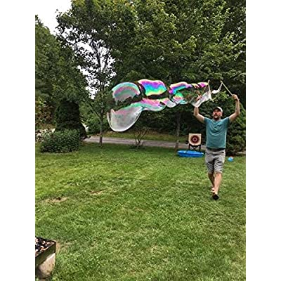 Far Out Bubbles, Giant Bubble Wand Kit, Wands are Available in Blue, red, Purple and Lime, 1 Kit Includes 1 Set of 18 inch Wooden Wands and 8 oz of Concentrated Bubble Mix.: Toys & Games