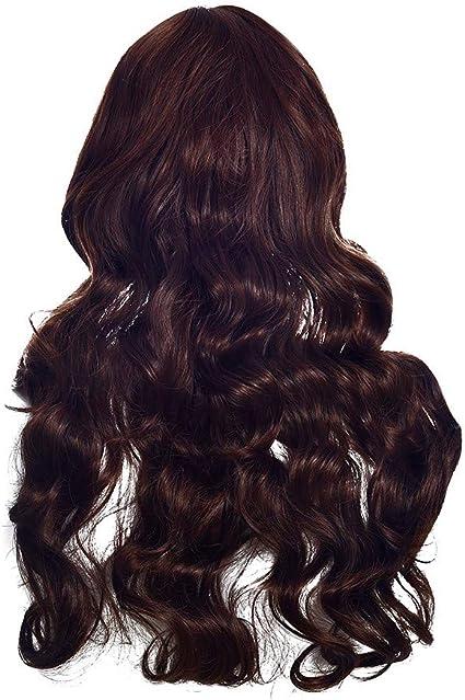Nourich - Peluca rizada de pelo largo y largo de color café ...