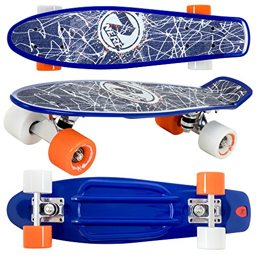 Flybar 22 Inch Complete Plastic Grip Tape Cruiser Skateboard Custom Non-Slip Deck Multiple Colors (Blue Lines)