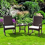 Tangkula 3 Piece Patio Furniture Set Wicker Rattan Outdoor Patio Conversation Set with 2 Cushioned Chairs & End Table Backyard Garden Lawn Chat Set Chill Time Modern Outdoor Furniture (Dark Brown)