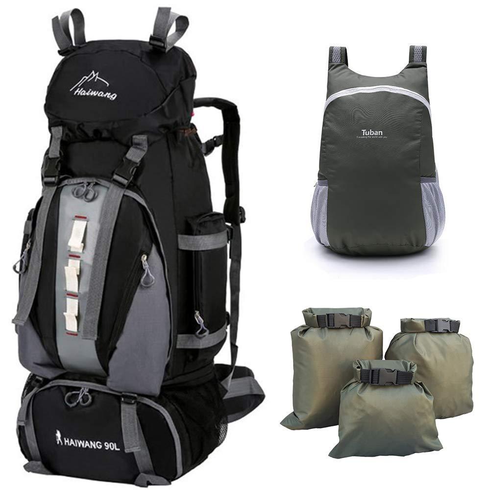Nordic Outfitters 90L バックパック 軽量 ハイキングバックパック ハンティング キャンプ 旅行 アウトドアスポーツ用 18L折りたたみ式バックパック ドライバッグ3枚付き B07MSFF4PG ブラック