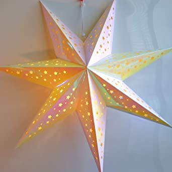 Iridescent Paper Star Lantern Decoration Magic 7 Point Lighted Star Perfect For Weddings Christmas Holiday Birthday Party Celebration Home Decor