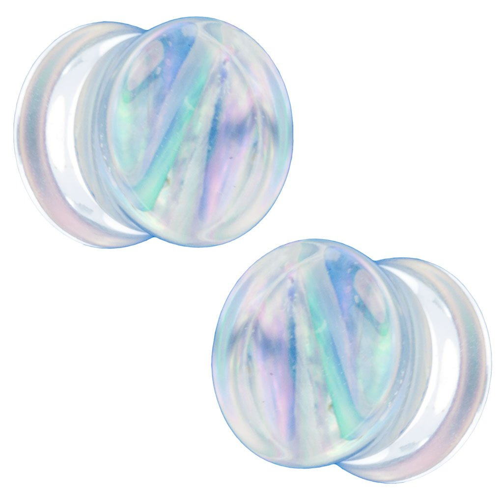 Pair of Acrylic Double Flared Plugs with Mother of Pearl Shell Inlay 5//8