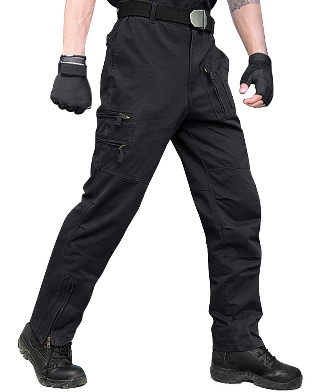 TACVASEN メンズ ワークパンツ タクティカル アウトドア カーゴ ミリタリーパンツ (ベルトなし) B07MKTPWR6 ブラック 32 32|ブラック