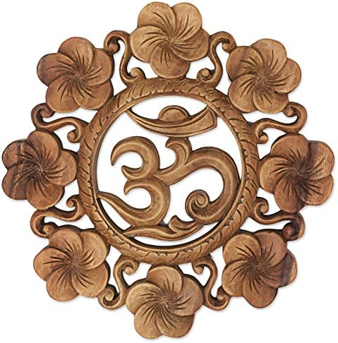 NOVICA Brown Hand Carved Suar Wood Relief Panel, Blooming Om