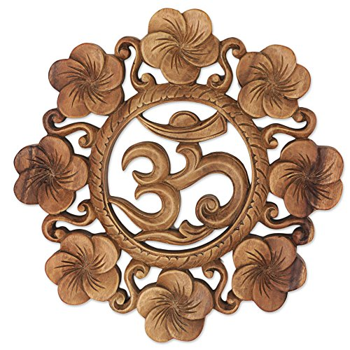 Carving Indonesian - NOVICA Brown Hand Carved Suar Wood Relief Panel, 'Blooming Om'