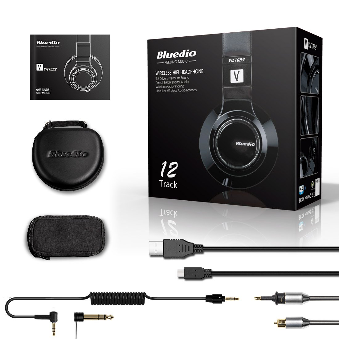 Bluedio V (Victory) Pro Patented PPS12 Drivers Wireless Bluetooth headphones (Black) by Bluedio (Image #7)