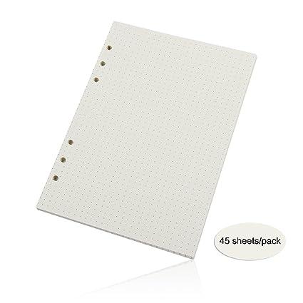 Recambios de folios Evilandat, 3 paquetes de papel con 6 orificios, tamaño A5, 21 x 14,3 cm, para carpeta de anillas de hojas sueltas o planificador, ...