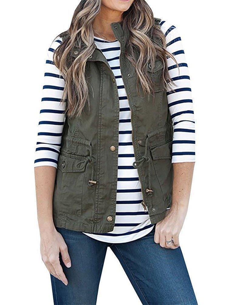Nlife Women Casual Zipper up Military Jacket Vest Coat Stripe Tunic Blouse Top