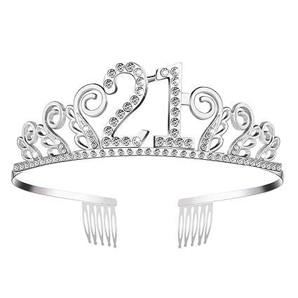 Amazon.com: frcolor cumpleaños coronas Rhinestone Tiara de ...