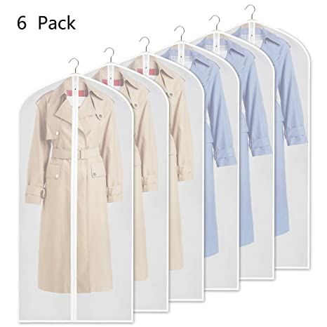"""60inch Suit Bag for Storage Cloth Cover Anti-Moth Protector Washable Clear Reuse Full Zipper Garment Bags for Long Dress Costumes Suits Gowns Coats 24/"""" * 60/"""" Set of 6 Yibak Garment Covers Bag"""