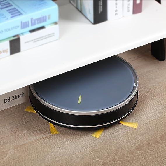 Fmart B66 Robot Aspirador con 3000pa Fuerte succión para alfombras de Baja Altura, Piso Duro, Aspirador robótico con Wi-Fi App Conectado, Google Home y ...