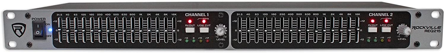 Rockville REQ215 Dual 15 Band 1/3 Octave Graphic Equalizer with Sub-Output