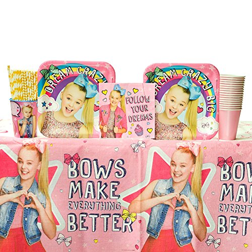 Cedar Crate Market Bundle JoJo Siwa Party Supplies Pack for 16 Guests: Straws, Dinner Plates, Luncheon Napkins, Table Cover, and Cups