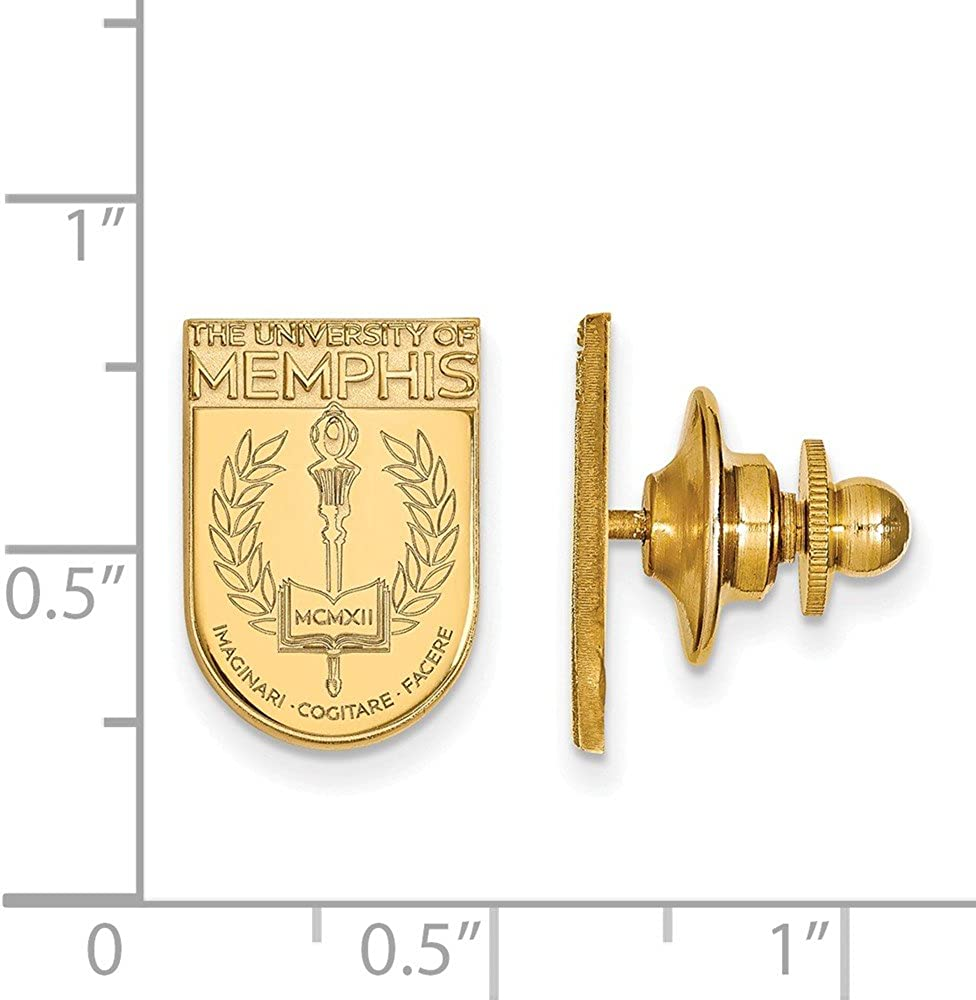 11mm x 15mm Solid 14k Yellow Gold University of Memphis Crest Lapel Pin