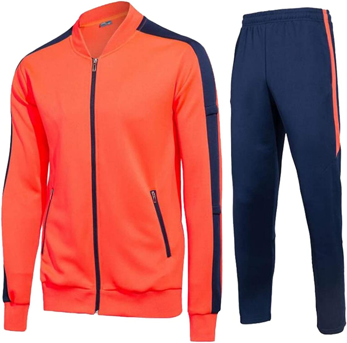Alion Mens Fashion Athletic Full Zip Running Tracksuit Sports 2 Piece Set