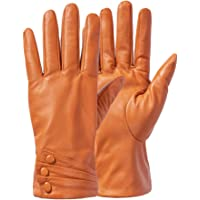 Women Leather Gloves, Italian Genuine Leather Nappa Elegant Driving Warm Gloves