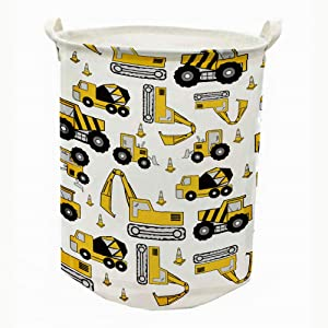 """Runtoo 19.7"""" Large Sized Laundry Hamper Waterproof Foldable Canvas Construction Transports Theme Bucket Clothing Laundry Basket with Handles for Storage Bins Kids Room Home Organizer Nursery Storage"""