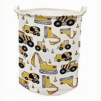 "Runtoo 19.7"" Large Sized Laundry Hamper Waterproof Foldable Canvas Construction Transports Theme Bucket Clothing Laundry…"