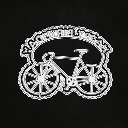 Plantillas de corte, diseño de bicicleta de cumpleaños con texto en inglés