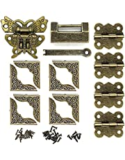Antique Bronze Butterfly Hasp Latch Buckle Vintage Padlock Lock Latches Box Corner Protectors and Butterfly Hinge Small Wooden Box Hardware Kit for Repair Decorative Jewelry Box Retro Design