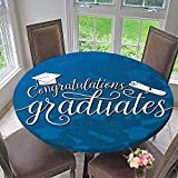 Mikihome Chateau Easy-Care Cloth Tablecloth College Celebration Ceremony Certificate Diploma Square for Home, Party, Wedding 67''-71'' Round (Elastic Edge)