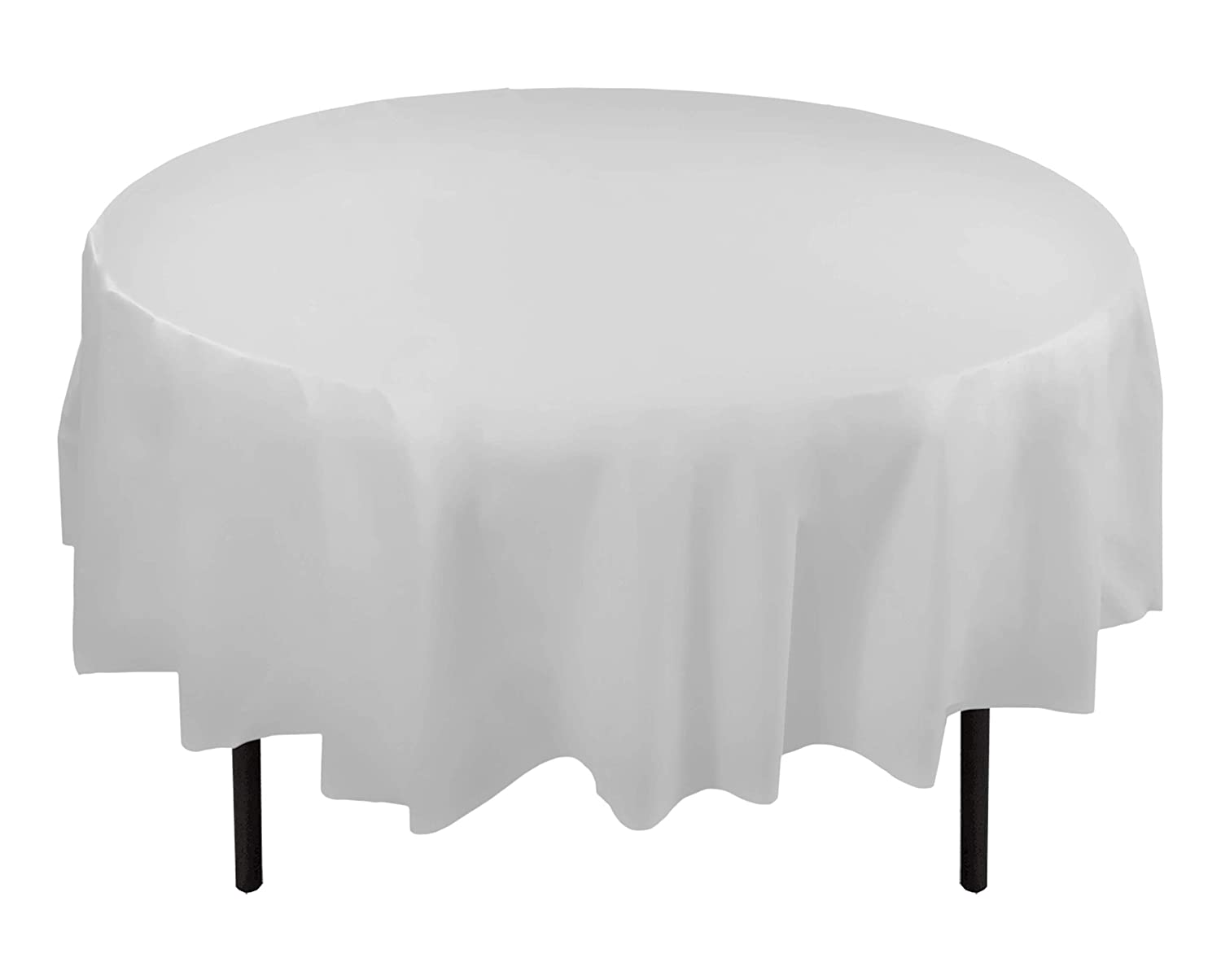 Round Table With Tablecloth.12 Pack Premium Plastic Tablecloth 84in Round Table Cover White