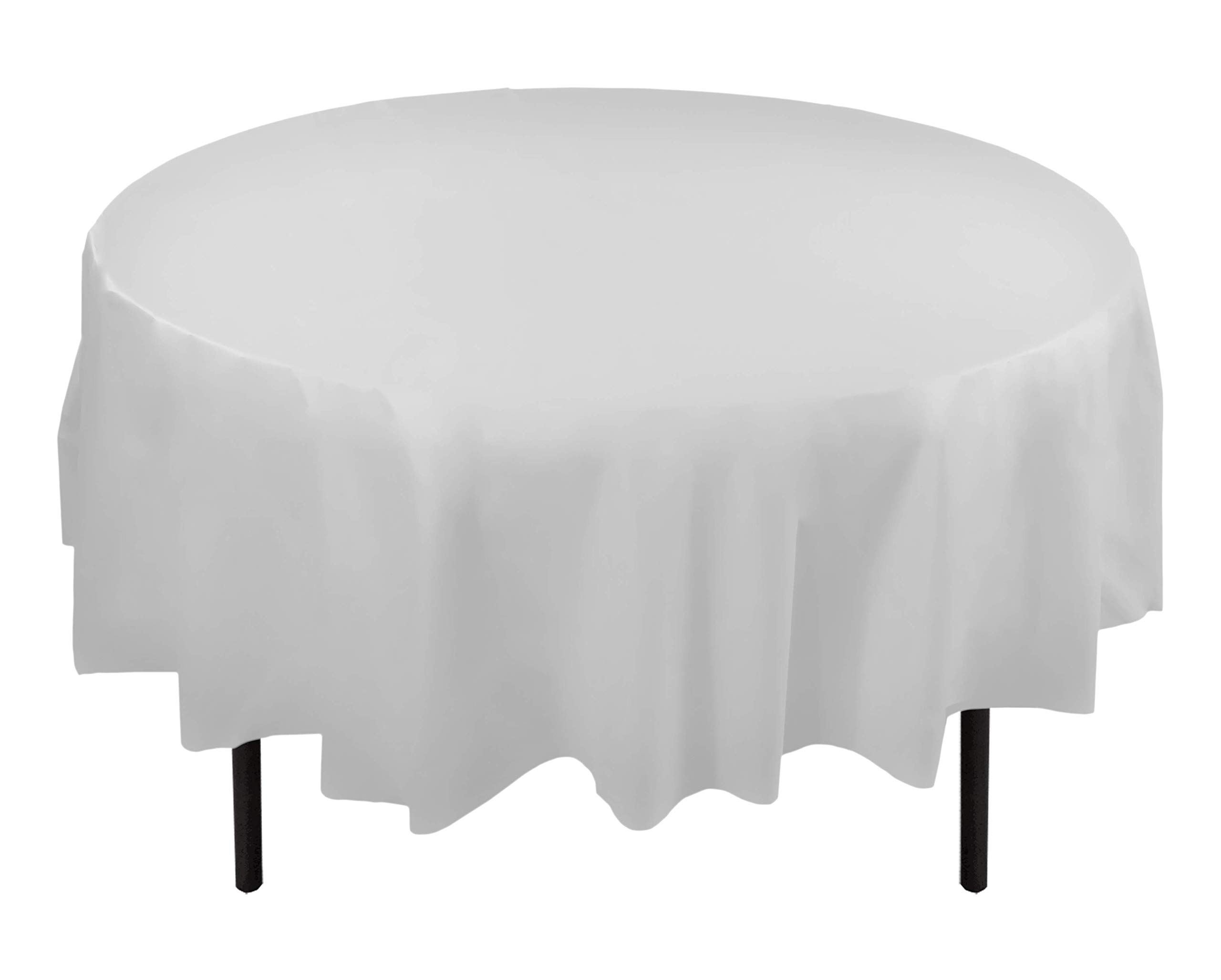 12-Pack Premium Plastic Tablecloth 84in. Round Table Cover - White by Exquisite (Image #1)