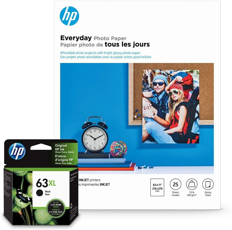 HP 63XL Black Ink + HP Everyday Photo Paper, Glossy, 25 Sheets, 8.5x11