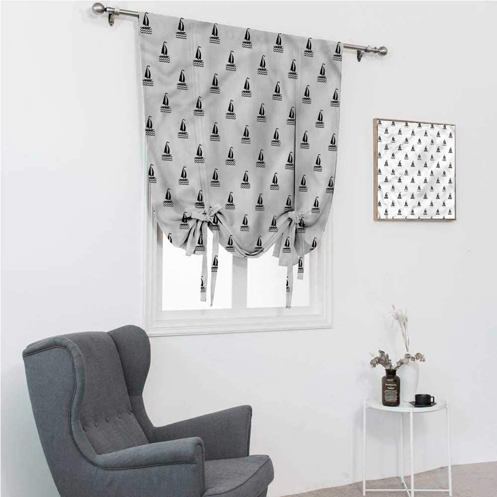 """Roman Window Shades Sail Boat Tie Up Window Shade for Home Diagonal Ships with Waves 30"""" Wide by 64"""" Long"""