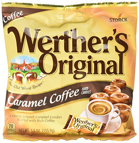 WERTHER'S ORIGINAL Caramel Coffee Hard Candy, Bulk Candy, Hard Candy, Individually Wrapped Candy, Caramel Candy, Caramel Sweets, 5.5 Ounce Bags (Pack of 12)