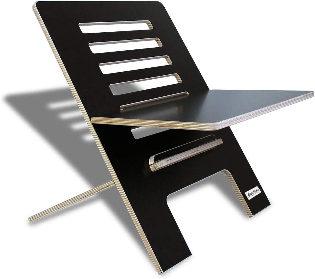 Standsome Slim Black– Le bureau debout en bois, bureau réglable en hauteur, bureau assis-debout noir et élévateur de bureau