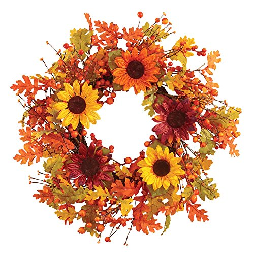 Autumn Leaves Sunflower Berry Indoor Outdoor Wreath (Outdoor Fall Wreath)