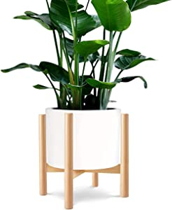"""VIEFIN Plant Stand Mid Century Modern Wood Pot Stand Indoor (Plant & Pot Not Included),Rustic Flower Pot Holder Plants Display Rack,Fits Up to 14"""" Pot Planter,Natural"""
