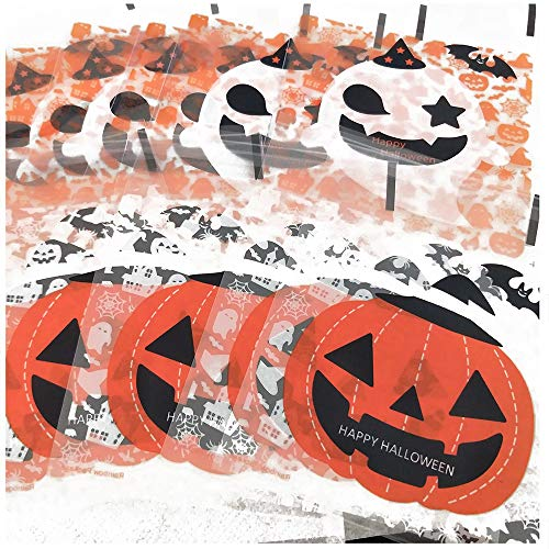 Efivs Arts 200 Pcs Halloween Cookie Decorating Bags Pumpkin Ghost Star cookie packaging bags Self-adhesive for Bakery Candy Biscuits Cake Baking Package -