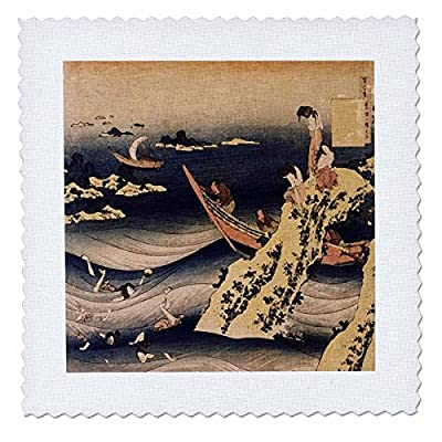 3dRose Print of Woodcut Vintage Painting Fishermen - Quilt Square, 25 by 25-Inch (qs_204001_10)