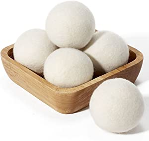 Wool Dryer Balls (6 Pack of XL), Reusable Natural Fabric Softener with 100% New Zealand Wool, Eliminates Wrinkles and Saves Drying Time, Hypoallergenic for Sensitive Skin