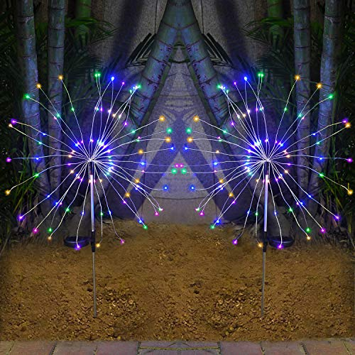 HeyMate Solar Lights Outdoor - 2 Pack Solar Garden Lights Outdoor Decorative with 105 LED Powered 35 Copper Wires Multi Color Solar Fireworks Lights for Walkway Patio Backyard Yard Lawn Christmas (Garden Lights Decorative)
