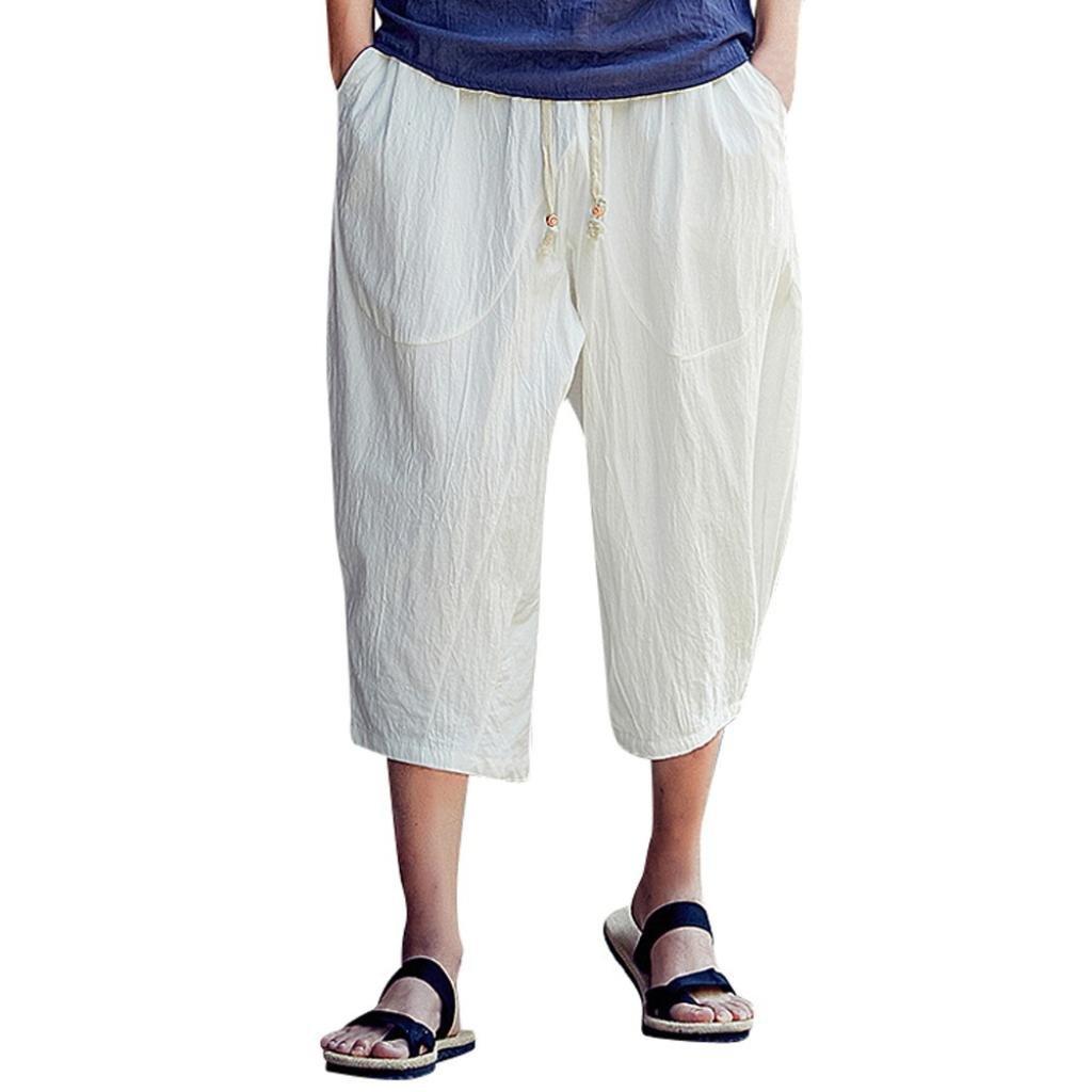 PASATO Men's Casual Slim Sports Pants Calf-Length Linen Trousers Baggy Harem Pants Trousers(White,XXXXL)