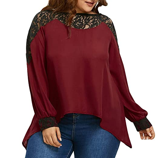 d4db378af53 Lace Plus Size Tops, MEEYA Women Long Sleeve Office Blouse O Neck Patchwork  Loose at Amazon Women's Clothing store: