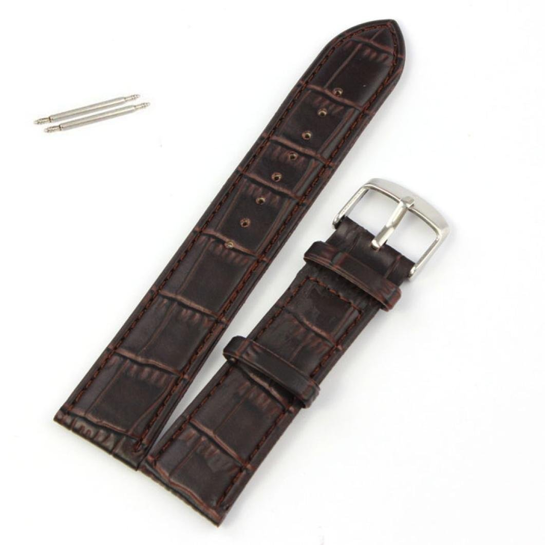 Coromose® 20mm Soft Genuine Leather Strap Steel Buckle Wrist Watch Band Brown