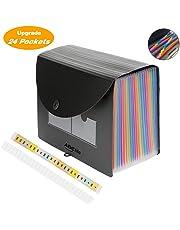 Carpeta Clasificadora con Tapa - ABClife Archivador acordeón 24 Bolsillos de gran Capacidad soporte Extensible portátil