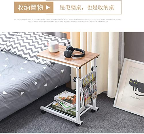 Household Height Adjustable Desk Sofa Side Table Wheel Mobile Foldable Computer Desk with Storage Basket for Home Gold