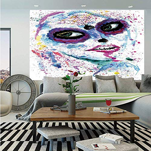 SoSung Girls Huge Photo Wall Mural,Grunge Halloween Lady with Sugar Skull Make Up Creepy Dead Face Gothic Woman Artsy,Self-Adhesive Large Wallpaper for Home Decor 100x144 inches,Blue Purple]()