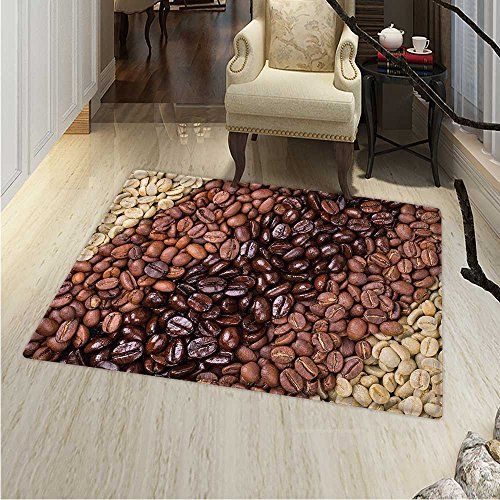 Kitchen Customize Floor mats Home Mat Selection Fresh Roasted Unroasted Coffee Beans in a Diagonal Stripe Pattern Oriental Floor Carpets 3'x5' Brown Cream