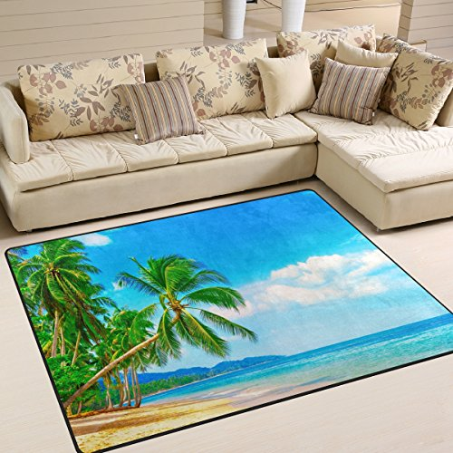 ALAZA Summer Tropical Palm Tree Ocean Area Rug Rugs for Living Room Bedroom 7' x 5'